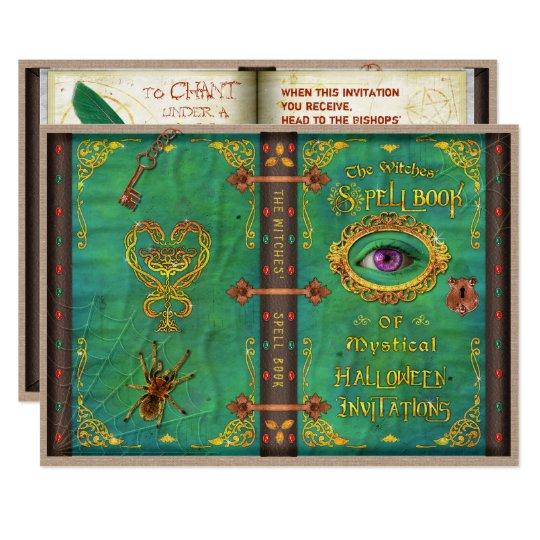 ハロウィンの魔法使いの魔法綴りの本の眼球のパーティー 12.7 X 17.8 インビテーションカード