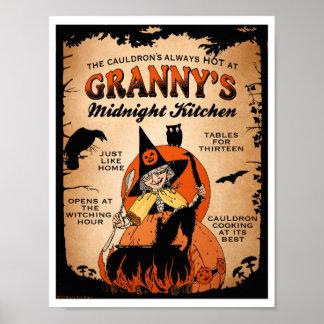 ハロウィンの魔法使いポスターおばあさんの真夜中の台所 ポスター