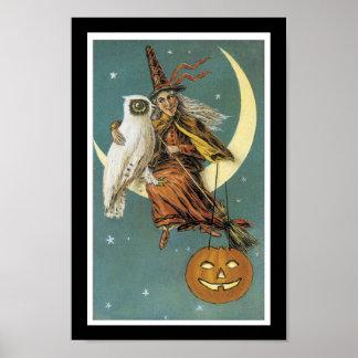 ハロウィンの魔法使い、フクロウ、月およびカボチャ ポスター
