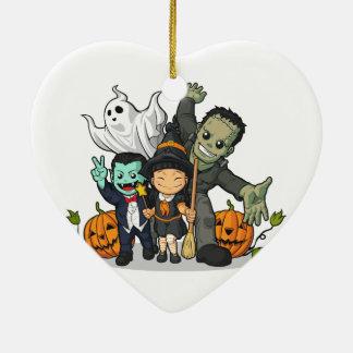 ハロウィンの魔法使い、吸血鬼、フランケンシュタイン及び幽霊 セラミックオーナメント