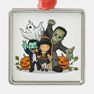 ハロウィンの魔法使い、吸血鬼、フランケンシュタイン及び幽霊 メタルオーナメント