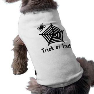 ハロウィンの黒いくものトリック・オア・トリートの小犬のティー ペット服
