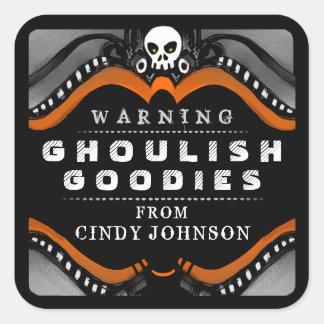 ハロウィンの黒いオレンジ白い御馳走警告表示 スクエアシール