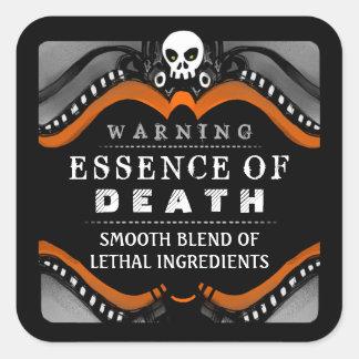 ハロウィンの黒いオレンジ白い飲み物か御馳走ラベル スクエアシール