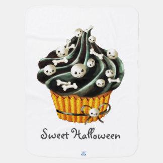 ハロウィンの黒いカップケーキ ベビー ブランケット