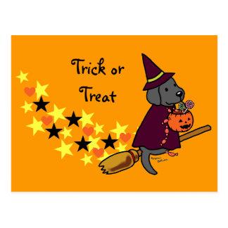 ハロウィンの黒いラブラドールの漫画1 ポストカード