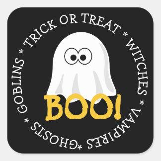ハロウィンの黒い幽霊のブーイングのステッカー スクエアシール