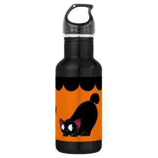 ハロウィンの黒猫およびくも ウォーターボトル