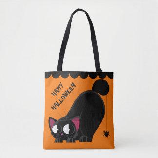 ハロウィンの黒猫およびくも トートバッグ