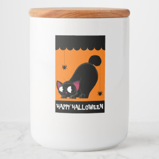 ハロウィンの黒猫およびくも フードラベル