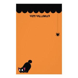 ハロウィンの黒猫およびくも 便箋