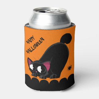 ハロウィンの黒猫およびくも 缶クーラー