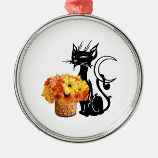 ハロウィンの黒猫およびキャンデートウモロコシ メタルオーナメント