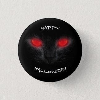 ハロウィンの黒猫の子ネコの赤は恐い子猫を注目します 3.2CM 丸型バッジ