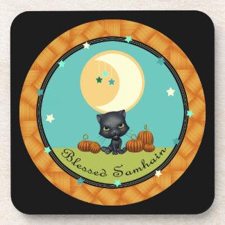 ハロウィンの黒猫の月はコースターBLKを主演します コースター