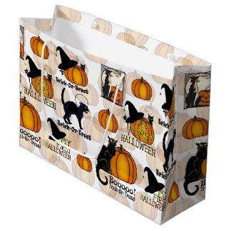 ハロウィンの黒猫、カボチャ、及び魔法使いの帽子#4 ラージペーパーバッグ