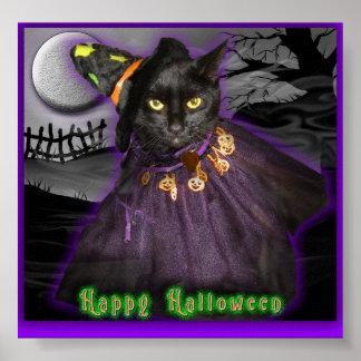 ハロウィンの黒猫 ポスター