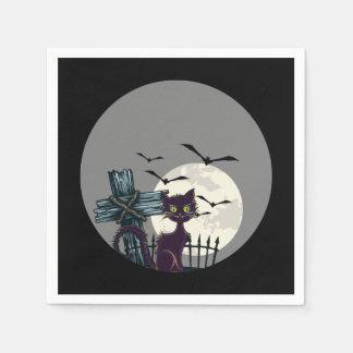 """ハロウィンの""""黒猫""""の""""満月""""の気色悪いナプキン スタンダードカクテルナプキン"""