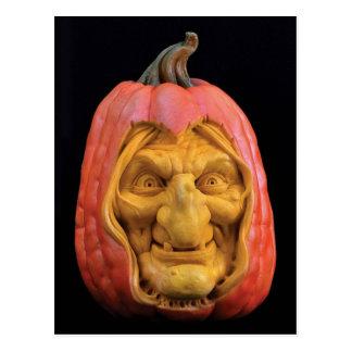 ハロウィンはジャックOの」-ランタンの魔法使いを彫刻しました ポストカード