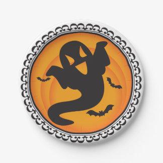 ハロウィンは幽霊の紙皿のシルエットを描きます ペーパープレート
