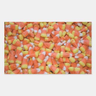 ハロウィンまたは感謝祭キャンデートウモロコシの秋季 長方形シール