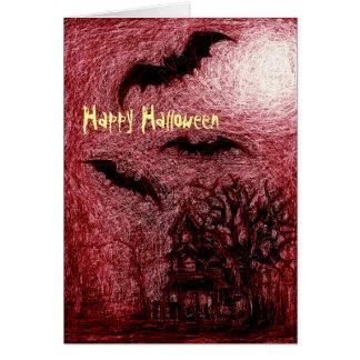 ハロウィンカードお化け屋敷の赤 カード