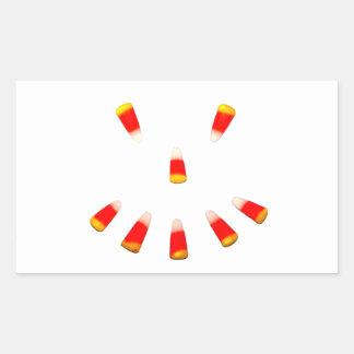 ハロウィンキャンデートウモロコシのにやにや笑い 長方形シール