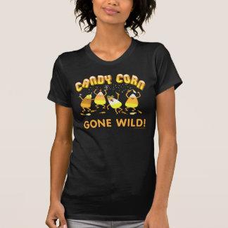 ハロウィンキャンデートウモロコシの黒のTシャツ Tシャツ