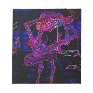 ハロウィンジャズサクソフォーンの骨組ミュージシャンのギフト ノートパッド