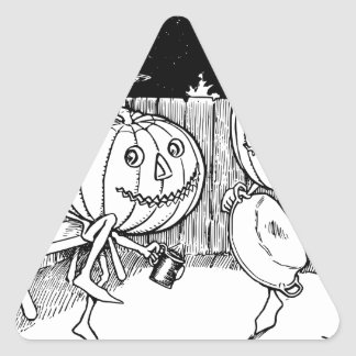 ハロウィンハロウィーンのカボチャのちょうちんのダンス 三角形シール