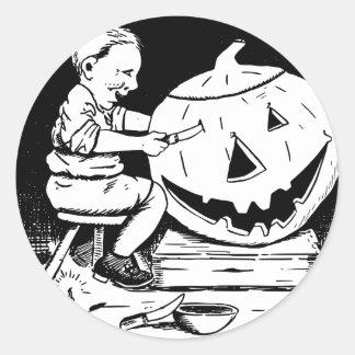 ハロウィンハロウィーンのカボチャのちょうちんの切り分けること ラウンドシール