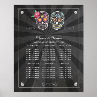 ハロウィンポスター座席を結婚するスカルのばら色のテーブル ポスター