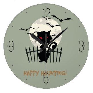 ハロウィン夜の黒猫 ラージ壁時計