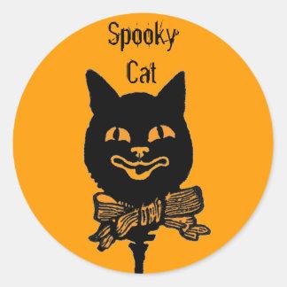 ハロウィン気味悪い猫のおもしろいのステッカー ラウンドシール