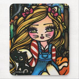 ハロウィン猫のお化け屋敷の女の子のファンタジーの芸術 マウスパッド