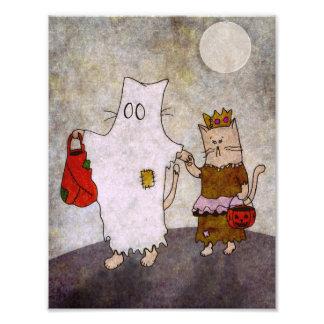 ハロウィン猫の芸術ポスター フォトプリント