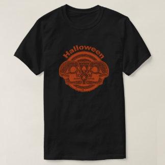 ハロウィン2つのスカル-オレンジかオレンジ Tシャツ