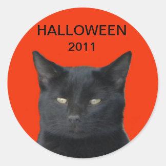 ハロウィン2011年-黒猫 ラウンドシール