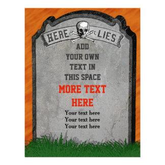 ハロウィン|墓碑|墓|スカル|骨が交差した図形 パーソナライズチラシ広告