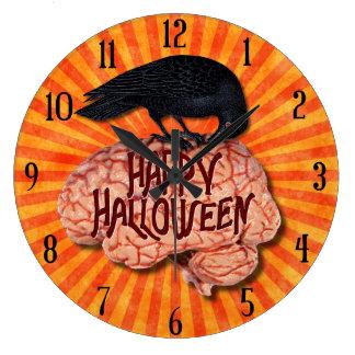 ハロウィン-頭脳の気色悪いワタリガラス ラージ壁時計