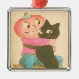 ハロウィーンのカボチャのちょうちんのカボチャかかしの黒猫 メタルオーナメント