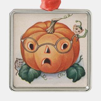 ハロウィーンのカボチャのちょうちんのカボチャマウスの小妖精や小人 メタルオーナメント