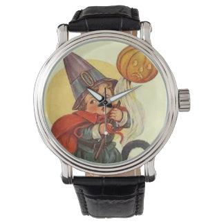 ハロウィーンのカボチャのちょうちんのカボチャ魔法使いの月 腕時計