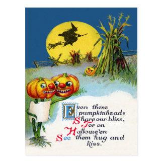 ハロウィーンのカボチャのちょうちんのカボチャ魔法使いの満月の三角波 ポストカード