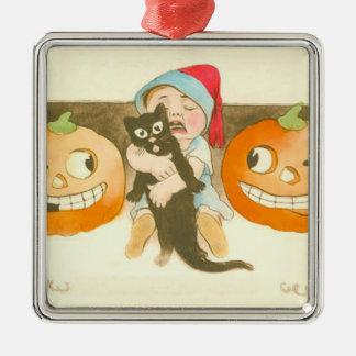 ハロウィーンのカボチャのちょうちんのカボチャ黒猫のかわいいベビー メタルオーナメント