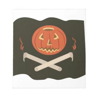 ハロウィーンのカボチャのちょうちんの旗 ノートパッド