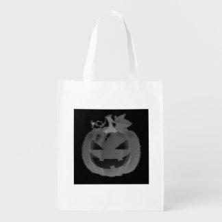 ハロウィーンのカボチャのちょうちんの白黒トリック・オア・トリート エコバッグ