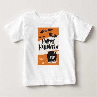 ハローウィンパーティのプリント-こうもりおよび墓地の裂け目 ベビーTシャツ