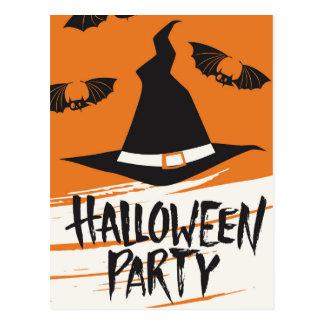 ハローウィンパーティの招待の魔法使いの帽子およびこうもり ポストカード