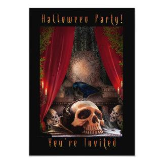 ハローウィンパーティの招待状-ワタリガラスの洞穴 12.7 X 17.8 インビテーションカード